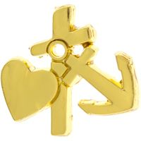 Faith Cross, Hope, Love Heart Pin Gold
