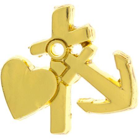Faith Cross, Hope, Love Heart Pin Gold