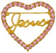 Jesus in Pink Rhinestone Heart Gold Pin