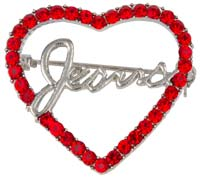 Jesus in Red Rhinestone Heart Pin