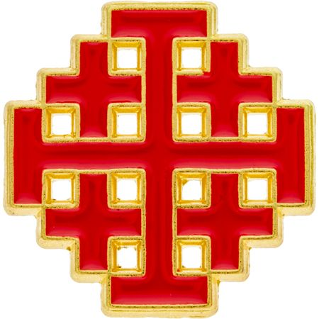 Crusaders Jerusalem Cross Pin Gold Red