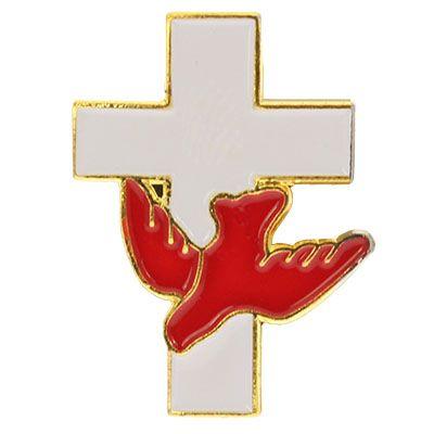 Holy Spirit Dove on Cross Pin