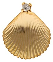 Baptism Shell Pin Gold