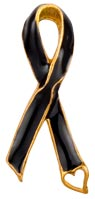 Memorial Black Ribbon Pin with Heart