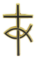 Gold and Black Cross and Fish Pin