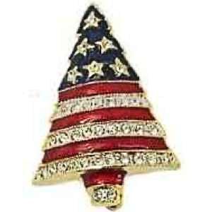 Patriotic Rhinestone Christmas Tree Pin