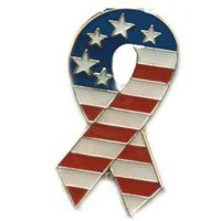 USA American Flag Patriotic Ribbon Pin
