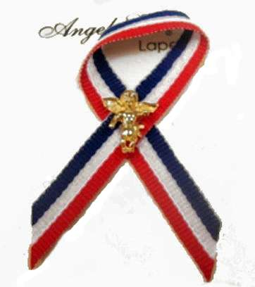 Red, White and Blue Ribbon with Angel Pin