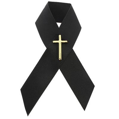 Gold Cross on Black Cloth Ribbon Pin