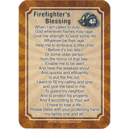 Firefighter Pocket Prayer Card - Back