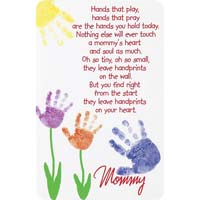Mommy Hand Print On Heart Pocket Cards