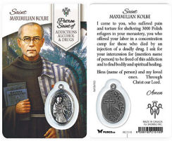 St. Kolbe-Addictions Alcohol Drugs Prayer Card w/ Medal
