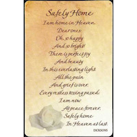 Safely Home Pocket Bereavement Card Laminated