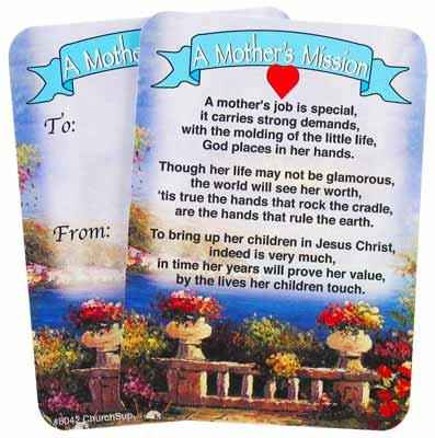 Mother's Mission Prayer Pocket Card