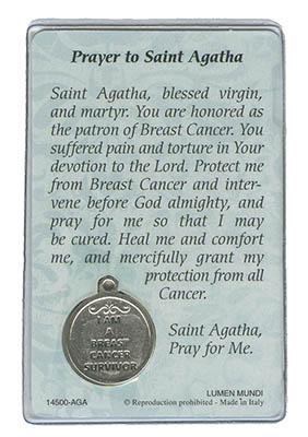St Agatha Card with Medal Back
