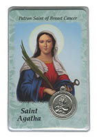 St. Agatha Breast Cancer Medal and Prayer Card