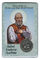 St. Andrew Avellino Strokes, High Blood Pressure Medal and Prayer Card