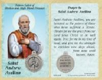 St. Andrew Avelino Strokes, High Blood Pressure Prayer Card & Medal