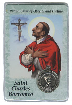 St Charles Borromeo Obesity Dieting Prayer Card With Medal