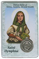 St. Dymphna - Stress, Anxiety, Mental Health Prayer Card w Medal