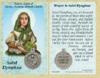 St. Dymphna - Stress, Anxiety, Mental Health Prayer Card with Medal