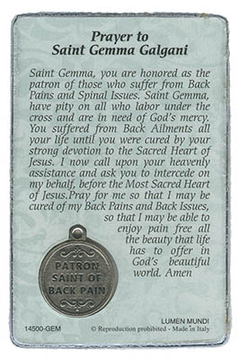 St  Gemma Galgani - Back Pain Prayer Card and Medal
