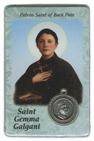 St. Gemma Galgani - Back Pain Prayer Card and Medal