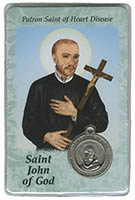 St. John of God Saint of Heart Disease Prayer Card w/Medal