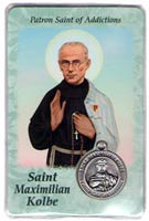 St. Maximilian Kolbe-Addictions Prayer Card with Medal