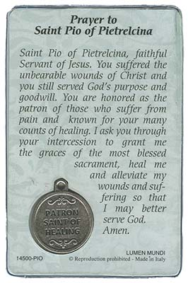 St  Pio (Pain, Suffering and Healing) Prayer Card & Medal