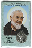 St. Pio (Pain, Suffering and Healing) Prayer Card & Medal