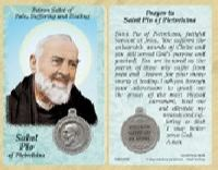 St. Padre Pio (Suffering and Pain) Prayer Card with Medal