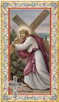 Catholic Cross Holy Card & Plastic Crucifix (Pkg of 12)