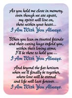 With You Always Memorial Prayer Card