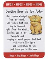 Hug, Hugs Hugs Sending a Hug Prayer Card