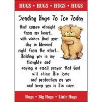 Sending a Hug Laminated Prayer Card
