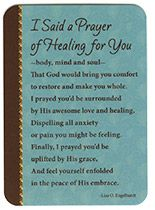 I Said a Prayer of Healing Laminated Pocket Prayer Card