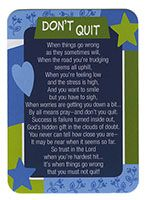 'Don't Quit' Laminated Pocket Prayer Cards