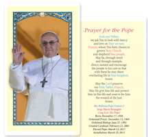 Pope Francis Prayer Cards Plastic Laminated