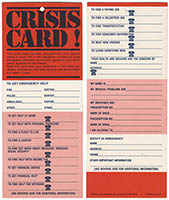 Phone Numbers in Case of Crisis Card