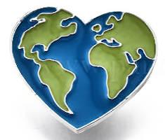 World on Heart Lapel  Pin