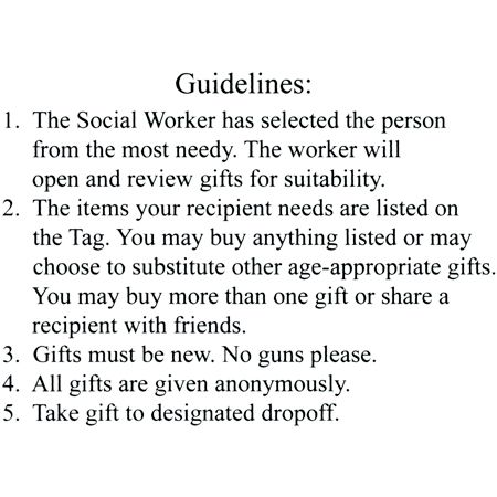 Christmas Tree Angel Tree Tag - Guidelines