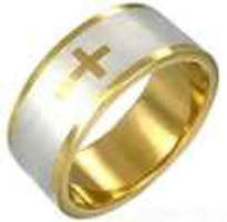 Gold Stainless Steel Cross Ring