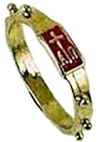 Gold Rosary Ring Catholic with Cross