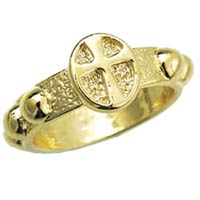 Gold Metal Rosary Ring w/ Cross