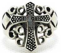 Flared Cross Ring Stainless Steel Men's