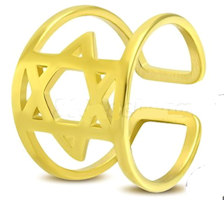 Gold Color Stainless Steel Cut-out Star of David Fancy Cuff Ring