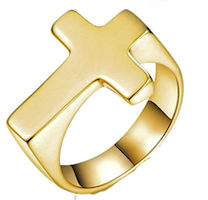 Cross Golden Men's Ring Stainless Steel