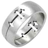 Stainless Steel Cross Ring  Woman's