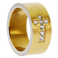 Gold Rhinestone Cross Ring